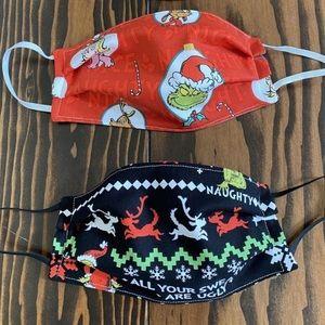Set of 2 grinch Christmas Face Masks